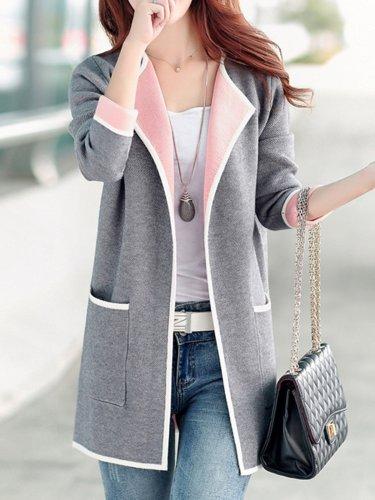 Shawl Collar Long Sleeve Pockets Plus Size Coat