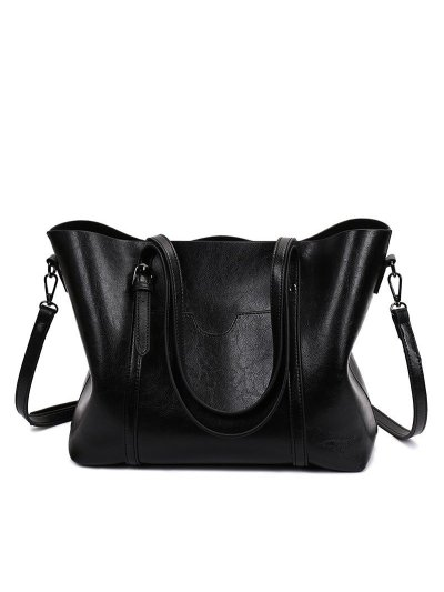 Women Oil Leather Tote Casual Front Pockets Crossbody Bags Handbags