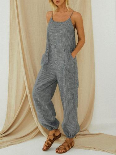 Adjustable Strap  Pocket Striped Jumpsuit