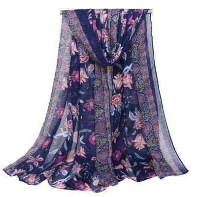 Voile With Floral Printing Blue and White Porcelain Large  Long Scarf Scarves Beach Towel