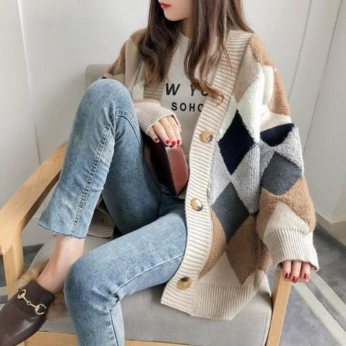 Long Sleeve Sweaters Autumn Knitted Cardigans Women Casual Plaid V-Neck Loose Sweater Femme Knitted Coat