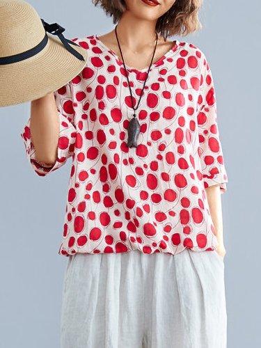 Plus Size Women Short Sleeve V Neck Vintage Floral Casual Tops
