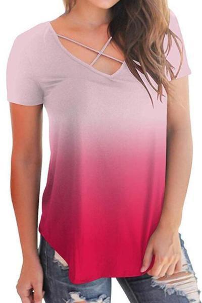 Gradient Criss Cross Short Sleeves T-shirt