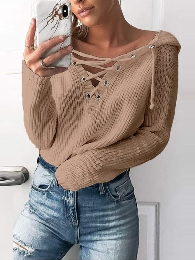 V Neck Casual Lace Up Solid Sweater