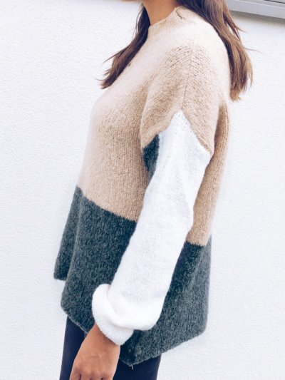 Patchwork Long Sleeve Casual Paneled Sweaters