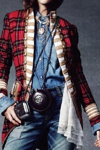 NEW!!Fashion Long Sleeve Plaid Splicing Coat