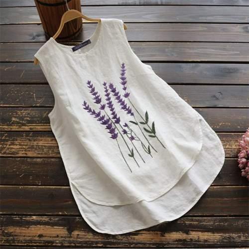 Women's Embroidery Tops 2020 Tank Blouse Casual Sleeveless Floral Blusas Female Asymmetrical Tunic 5XL