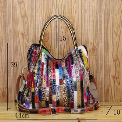 Leather stitching bohemian style handbag