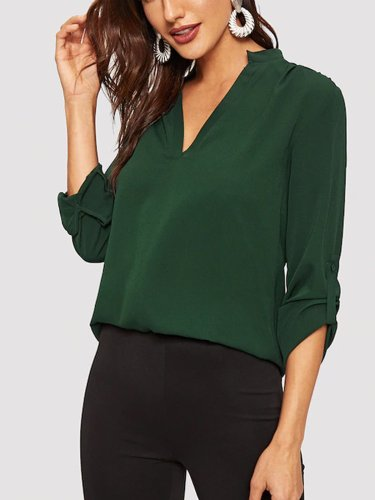 Green Chiffon 3/4 Sleeve Shirts & Tops