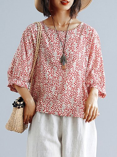Plus Size Women Floral  Half  Sleeve  Round  Neck Cotton And Linen Loose Casual Top