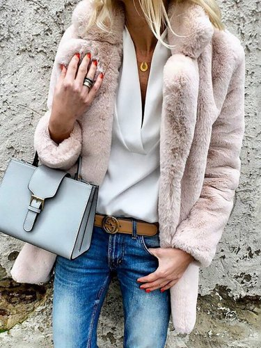 Faux Fur Elegant Paneled Solid Quilted Coat