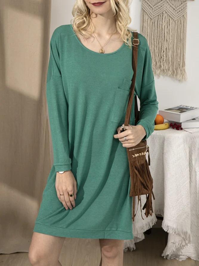 Green Long Sleeve Crew Neck Shirts & Tops