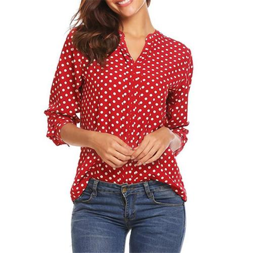 Plus Size Polka Dot Chiffon Blouse Shirts V-neck Long Sleeve Tops