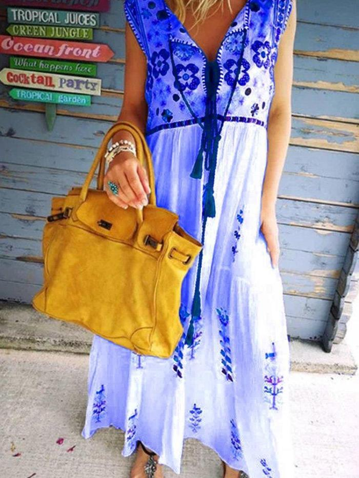 Embroidery Casual Cotton-Blend Patchwork Dresses