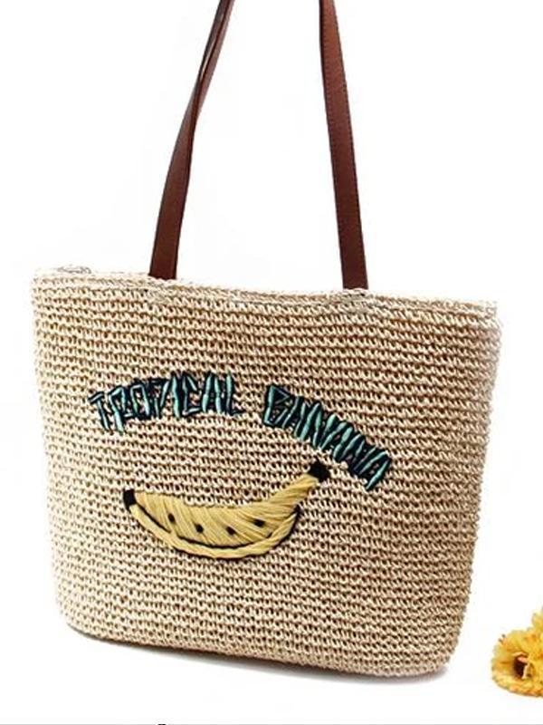 Women's Casual Banana Print Woven Straw Tote Bag