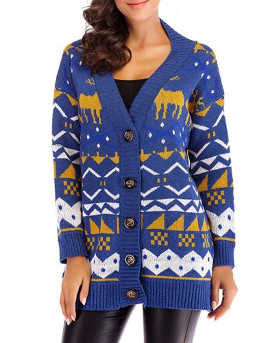 Casual Paneled Animal Cotton Sweater