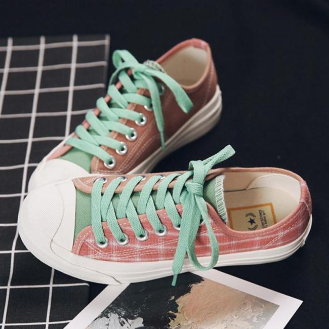 Casual And Comfortable Plaid Canvas Shoes