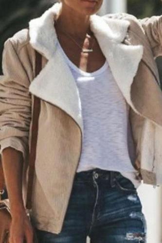 Fold Over Collar  Zipper  Plain Jackets