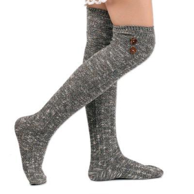 Wool Blend Stockings Female Amazon Student High Socks Buttons Decorative Knit Long Socks
