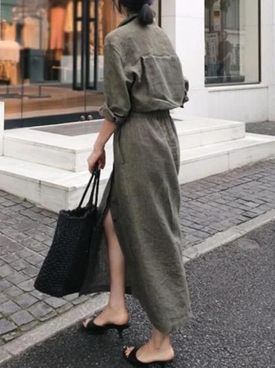 Shirt Collar Gray Women Dresses Daily Vintage Linen Dresses
