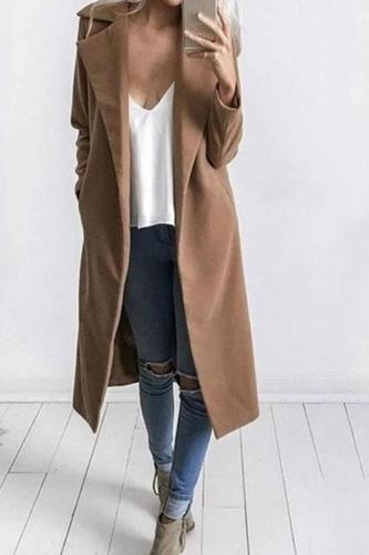 Fold-Over Collar  Snap Front  Plain Coats
