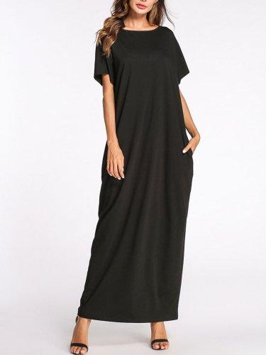 Women Plus Size Black Boat Neck Pockets Solid Bow Shift Maxi Dress