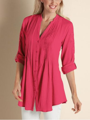 V Neck Half Sleeve Cotton Floral Shirts & Tops