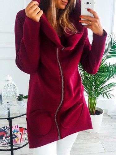 Solid Long Sleeve Pockets Women's Warm Hoodies