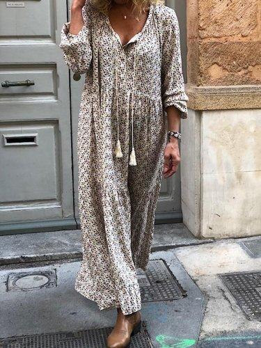 Women Shift Boho Floral Maxi Dresses Long Sleeve V Neck Daily Dresses