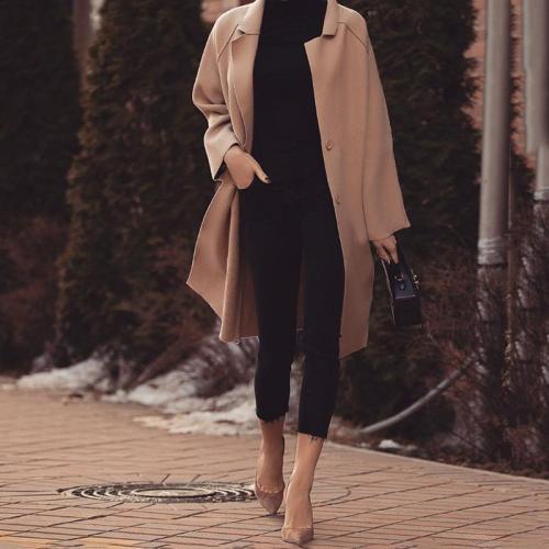 Women's Modern Pure Color Single-Breasted Turndown Collar Coat