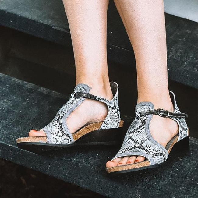Snakeskin Daily Summer Artificial Leather Animal Print Block Heel Sandals
