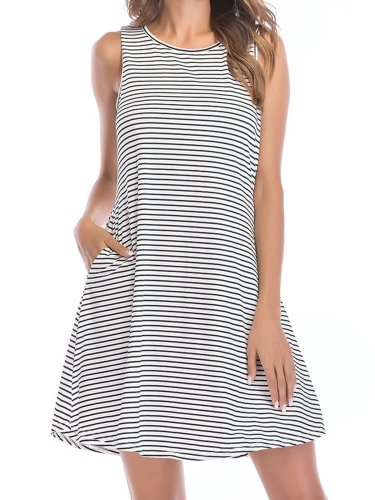 Women Stripes Summer Mini Dresses Crew Neck Shift Daily Dresses