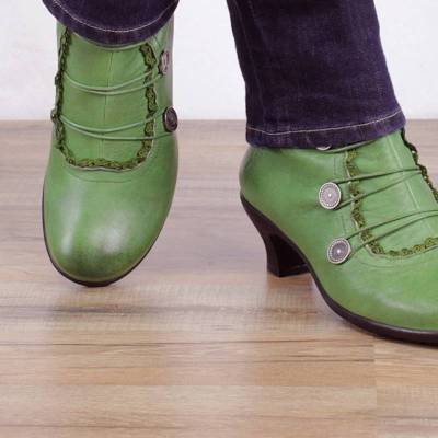 Women Leather Comfy Heel Shoes