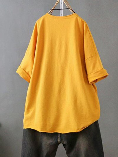 Casual Round Neck Pockets Shirts
