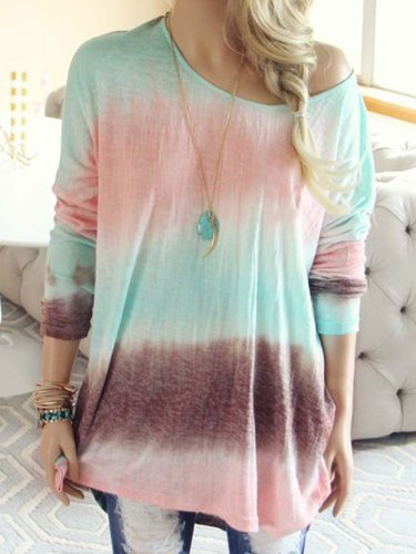 Casual Patchwork Color-Block Shirts & Tops
