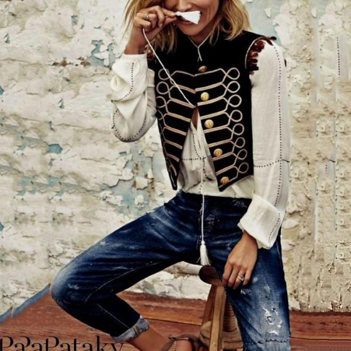 Women Vintage Tachibana Sleeveless Tassel Blazer