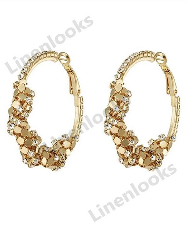 Hoop Earrings with Rhinestone Large Circle Earrings Women Charming Jewelry Earrings