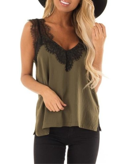 Casual Plain V Neck Shirts & Tops