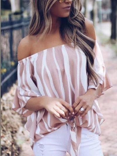 Off Shoulder Striped Batwing Sleeve Blouses
