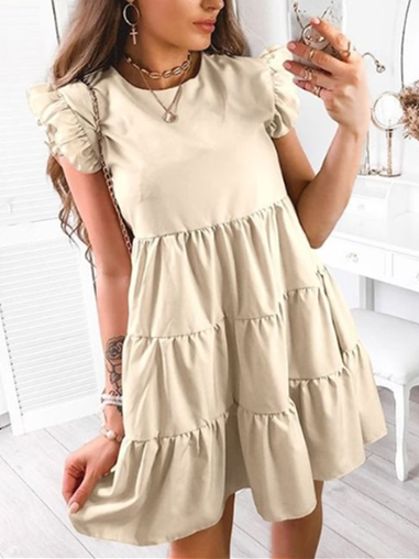 Vintage Frill Sleeve Crew Neck Ruffled Dresses