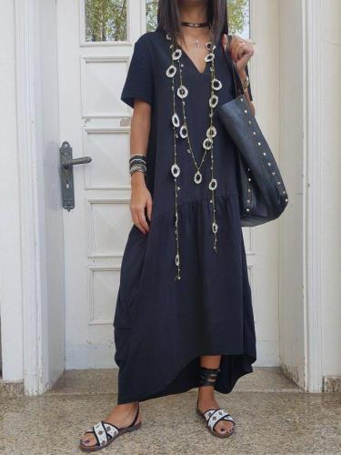 Solid V Neck Cotton-Blend Short Sleeve Dresses