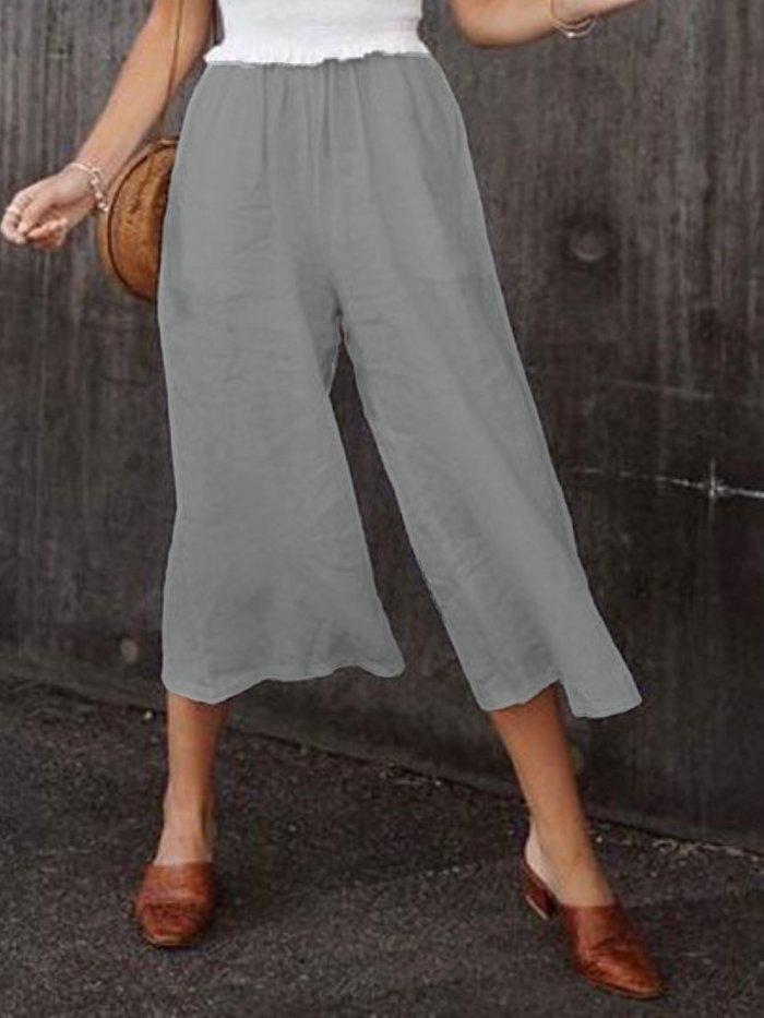 Casual Cotton Plain Pants