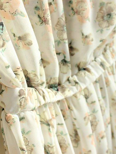Band Collar  Elastic Waist  Striped Maxi Dress
