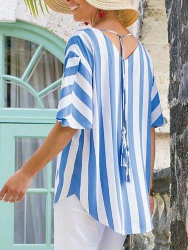 Blue Striped Half Sleeve Round Neck Shirts & Tops