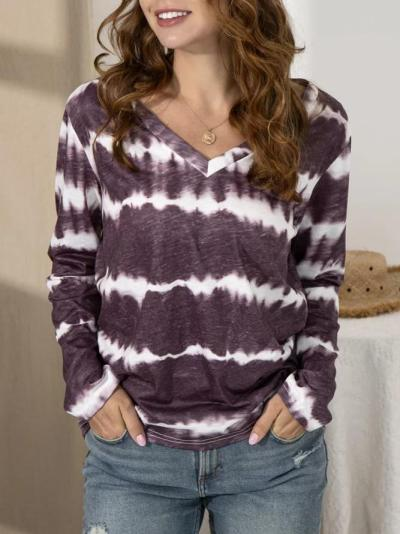 V Neck Tie-Dye Long Sleeve Shirts & Tops