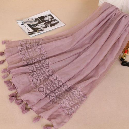 Women Fashion Plain Lace Floral Patchwork Viscose Shawl Scarf Luxury