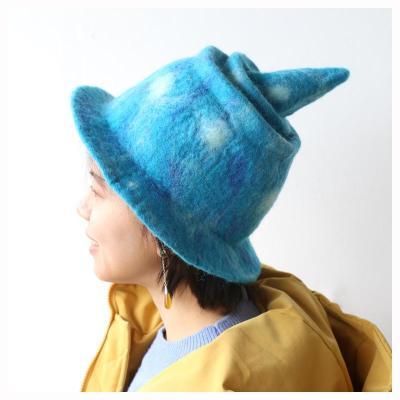 Harajuku Wind Wool Felt Spire Witch Hat.