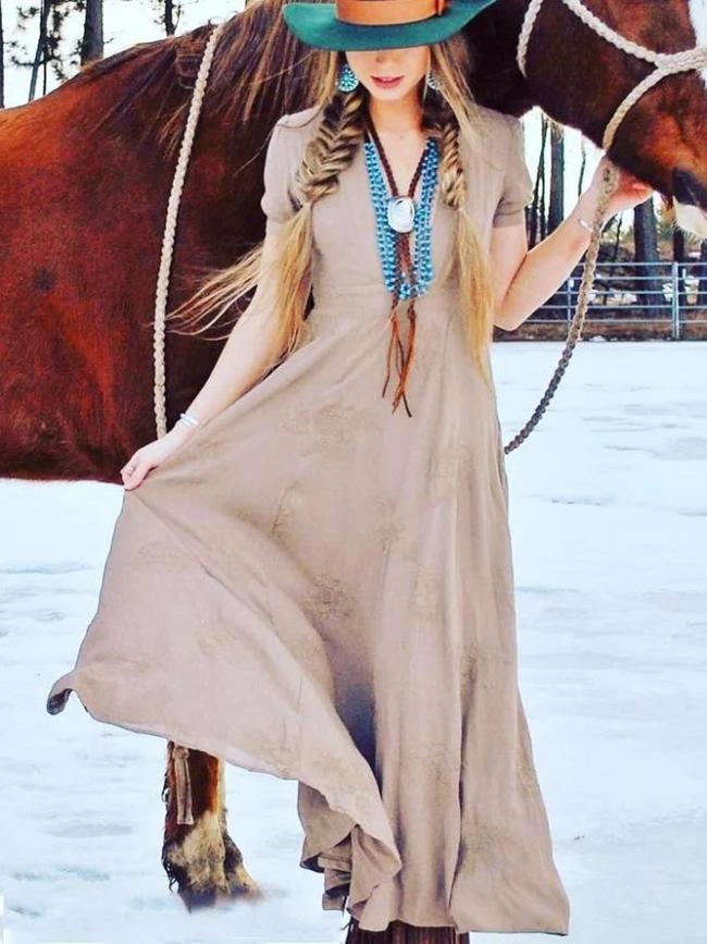 Vintage Boho Plain Short Sleeve V Neck Plus Size Casual Dresses