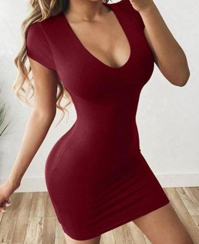 Slim Bodysuit Long Skirt Round Neck Sexy Bag Hip Solid Color Short Sleeve Bodycon Dresses