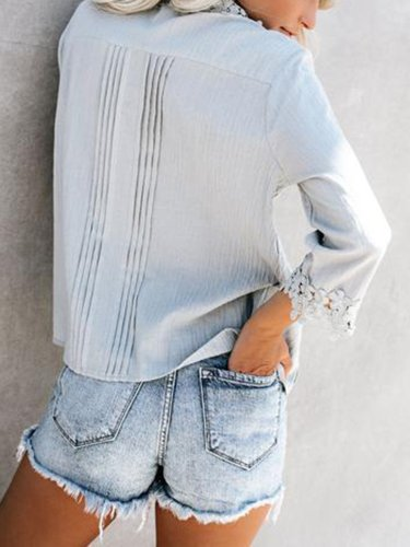 Gray Floral Shift Eyelet Casual Shirts & Tops